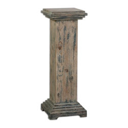 Uttermost - Uttermost Alejo Traditional Pedestal X-25342 - With hints of Prussian blue paint on smooth, faded gray, weathered fir, this solid wooden pedestal makes a sturdy and attractive place for a statement piece.