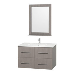 Wyndham Collection - Wyndham Centra Vanity Grey Oak - Simplicity and elegance combine in the perfect lines of the Centra vanity by the Wyndham Collection . If cutting-edge contemporary design is your style then the Centra vanity is for you - modern, chic and built to last a lifetime. Available with green glass, white carrera marble or pure white man-made stone counters, and featuring soft close door hinges and drawer glides, you'll never hear a noisy door again! The Centra comes with porcelain, marble or granite sinks and matching mirrors. Meticulously finished with brushed chrome hardware, the attention to detail on this beautiful vanity is second to none.