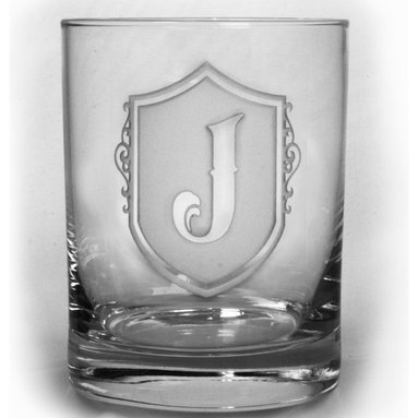 Whiskey, Scotch, Bourbon Glasses - Personalized custom whiskey, scotch and bourbon glasses are the perfect gift for bridal shower, engagement, wedding, birthday and for the man or woman who has everything. Real estate agents and interior designers often give our personalized barware to special clients as housewarming or thank you gifts.  Not engraved, but deeply sand carved, each of our glasses is hand crafted. The background is carved away, leaving the monogram and design raised from the glass in a 3D manner. Simply exquisite. Crystal Imagery