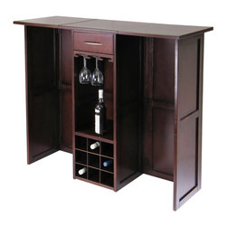 "Winsome Wood - Winsome Wood Newport Expandable Wine Bar Counter with Glass Hanger X-05349 - Expandable Bar Counter is perfect for serving at party.  Fold for storage with 20.31""L x 17.87""W x 40.16""H dimension. Store up to 9-12 long stem glasses."