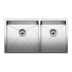 Blanco - BLANCO QUATRUS R15 Stainless Steel Undermount 1-3/4 bowl Sink - BLANCO 519550 QUATRUS R15 Stainless Steel Undermount 1-3/4 bowl sink
