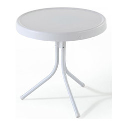 Crosley Furniture - 20 in. Metal Side Table - UV resistant. Warranty: 90 days. Made from steel. Non-Toxic powder coated finish. White finish. Assembly required. 20 in. Dia. x 19.5 in. H (8.4 lbs.)Relax outside for hours on our nostalgically inspired Griffith metal outdoor furniture. Set down your glass of iced tea on this sturdy steel side table, designed to withstand the hottest of summer days and other harsh conditions. The tables non-toxic, powder-coated finish is available in various colors to complement your outdoor accessories.