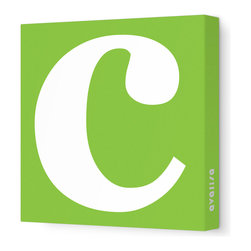 "Avalisa - Letter - Lower Case 'c' Stretched Wall Art, 28"" x 28"", Green - Spell it out loud. These lowercase letters on stretched canvas would look wonderful in a nursery touting your little one's name, but don't stop there; they could work most anywhere in the home you'd like to add some playful text to the walls. Mix and match colors for a truly fun feel or stick to one color for a more uniform look."