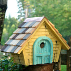 Prairie Home Bird House - The handcrafted Prairie Home Bird House features a vintage style and weathered look. It is eco-friendly and constructed of short pieces of lumber that would otherwise be chipped or burned.