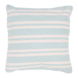 "Jaipur Rugs - Handmade Cotton Blue/Ivory/White Pillow, 22"" x 22"", Swing - Santorini are flatweave dhurri styled pillows in pastels and bright colors to liven any decor."