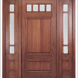 MAI - Craftsman Entry Door Model HTC-600 - Model HTC-600 is from our Home Towne Collection. Door is solid Mahogany.  Styled for Craftsman and Arts & Crafts Homes.  This door can be purchased as one door, two doors, or doors with matching sidelites.