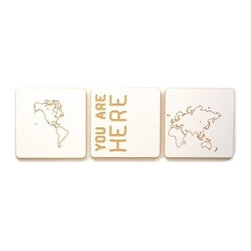 Sprout - World Map Art Tiles, White, Set of 3 - Featuring fun and modern engraved designs, these art tiles add a fun accent to any room. Each tile is square and can be used with sprout frames for customized modular wall art. These art tiles are designed with the same environmentally responsible philosophy as the rest of the Sprout line. Easily mount to any wall with a screw, nail, or doubles sided tape.
