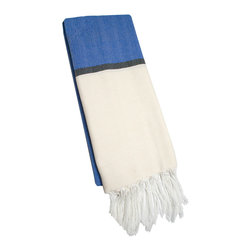"Abanja - Barek Solid Fouta Blue Towel - The Barek Fouta towel envelops with oversized comfort and classic style. Featuring a bold colorblock motif, the fringed beach accessory's divides blue and beige with a dark gray stripe. 39""W x 73""H; 85% cotton/15% acrylic; Blue, neutral and black"