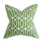 """The Pillow Collection - Lior Geometric Pillow Green 18"""" x 18"""" - If you're looking for the perfect accent piece to decorate in your living room or bedroom, this fancy throw pillow is the answer. Rich green hue and an intricate white pattern bedecks this elegant accent piece. Pair this with a matching pillow or mix with solids for dimension. Crafted in 100% high-quality cotton material, this 18"""" pillow is easy to clean. Hidden zipper closure for easy cover removal.  Knife edge finish on all four sides.  Reversible pillow with the same fabric on the back side.  Spot cleaning suggested."""
