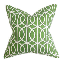 "The Pillow Collection - Lior Geometric Pillow Green - If you're looking for the perfect accent piece to decorate in your living room or bedroom, this fancy throw pillow is the answer. Rich green hue and an intricate white pattern bedecks this elegant accent piece. Pair this with a matching pillow or mix with solids for dimension. Crafted in 100% high-quality cotton material, this 18"" pillow is easy to clean. Hidden zipper closure for easy cover removal.  Knife edge finish on all four sides.  Reversible pillow with the same fabric on the back side.  Spot cleaning suggested."