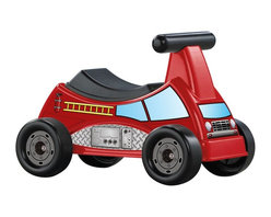 American Plastic Toys - American Plastic Toys Ride-On Fire Truck Riding Push Toy Multicolor - 30110 - Shop for Tricycles and Riding Toys from Hayneedle.com! Send your little firefighter off to the rescue with the American Plastic Toys Mega Construction Set. Crafted from strong and durable plastic with plenty of colorful decals your child will love going on adventures with this rode-on toy. It also features a storage compartment under the seat so your little guy can take along any necessary equipment. About American Plastic ToysSince 1962 American Plastic Toys has proudly manufactured safe toys in the United States. The company's product line includes more than 125 different items ranging from sand pails and sleds to wagons and play kitchens. American Plastic Toys assembles every one of the toys in its product line in the United States. Most of the components in American Plastic Toys products are molded in the company's own plants or purchased from U.S. companies. Toys with imported components (mostly sound components and fasteners - no painted components) represent only 25 percent of the entire product line. Every American Plastic Toys product is tested by at least one independent U.S. safety-testing lab to ensure that it complies with applicable safety standards.