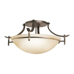 KICHLER - KICHLER 3606OZ Olympia Transitional Semi-Flush Mount Ceiling Light - The Olympia Collection brings a modern twist on the classic aesthetic to create a new form the likes of which has not been seen before. The curvilinear, flowing arms create a clean, contemporary profile for your home. The Olde Bronze(R) finish combined with Sunset Marble glass presents a natural color palate capable of matching any décor. For a simple approach, the Olympia Collection offers its unique look as an inspirational semi-flush ceiling fixture. It is a 3-light design that requires a 100-W Max bulbs to light the Satin-etched cased opal glass, creating glowing light with chic sophistication.
