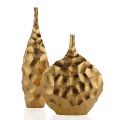 Z Gallerie - Helios Vase - With an undulating surface displaying  geometric indentations in a stunning display of texture, our Helios Vase is grandiose in every sense of the word. Taking the shape of a decorative sculptural piece, our Helios Vase exudes the qualities of a stand-alone display piece. Pair our Helios Vases together for double impact atop a coffee table, or feature as a stately and progressive dining table centerpiece.  Suggested for use with decorative flowers or foliage only. Sold separately.