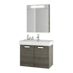 ACF - 28 Inch Grey Oak Bathroom Vanity Set - A sensible option for a decorative or contemporary master bath, this wall hung bath vanity is the perfect option.