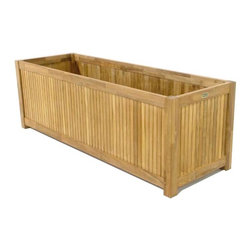 Westminster Teak Furniture - Westminster Teak Rectangular Planter Flower Box - This is an ideal teak planter box for a raised mini garden , herb garden or brightly colored annuals flowering on your deck or patio. Westminster Teak, like all teak, will patina to a rich, silvery color over time, or it can be treated to maintain its original luster. Enjoy gardening even when you live in a high rise or have a small yard, fresh vegetables or flowers will always be available with a teak planter box.