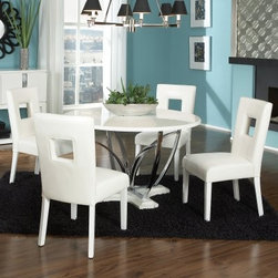 Standard Furniture Meridian 5 Piece Dining Table Set - Contemporary design doesn't have to be so cool it's chilly - take the wonderfully down-to-earth Meridian 5 Piece Dining Table Set, for example. It's light, bright, and right at home in your home decor. The table serves as the focal point to this on-trend ensemble with its open-form radiating base and nickel-finished metal legs. The tabletop and base, plus the chair legs, are all crafted of select wood solids and wood products in a high-gloss laminate finish. You'll also love the white polyurethane upholstery on the seats and backs, not to mention the savvy square cutouts.You can also add an optional server to your order. With the same high-gloss white finish, it features two cupboards with sleek flush doors and shiny nickel-finished vertical stripe accents. Below, the floor-level shelf provides space for your favorite home accents.Dimensions:Table: 48 diam. x 30H inchesChair: 24W x 19D x 38H inches; seat height: 18 inchesServer: 52W x 18D x 40H inchesAbout Standard FurnitureFounded in 1946 as a family owned, American-based company, Standard Furniture operates their own manufacturing and distribution facilities in Bay Minette and Frisco City, Alabama with more than 80% of their entire workforce based out of the United States. Their 1.4 million square feet of manufacturing space, 1.5 million square feet of warehouse space, and more than 40 trucks enable them to keep up with customer demand. Their main focus is to assist their customers in growing their retail businesses by supplying products that will sell due to quality, design, and value. As one of the leading case goods manufacturers in the market, Standard Furniture's continual growth and presence in the market place has remained steady over the last 60 years.
