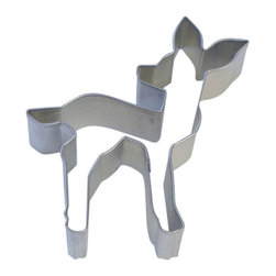 "RM - Fawn 4.5 In. B1123X - Fawn cookie cutter, made of sturdy tin, Size 4.5 in. up and down, 3"" left to right from tip of tail to breast, Depth 7/8 in., Color silver"