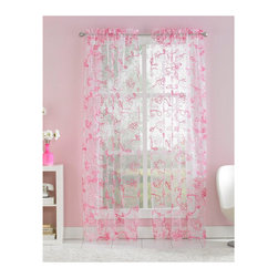 Ribbon Trim Floral Sheer Curtain Panel Pair, Pink - I'd love to see this sheer curtain panel in a girl's bedroom. Perfect for summer, it's light enough to make sure the sun always shines through.