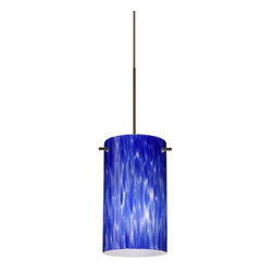Besa Lighting - Besa Lighting 1XT-440486-LED Stilo 1 Light LED Cord-Hung Mini Pendant - Stilo 7 is a classic open-ended cylinder of handcrafted glass, a shape that will stand the test of time. Our Blue Cloud glass is full of floating, splashes of blue tones over white that almost feels like a watercolor painting. This combination of color is crisp and timeless. This decor is created by rolling molten glass in small bits of blue hues called frit. The result is a multi-layered blown glass, where frit color is nestled between an opal inner layer and a clear glossy outer layer. The handcrafted touch of a skilled artisan, utilizing century-old techniques passed down from generation to generation, creates variations in color and design that are to be appreciated. The 12V cord pendant fixture is equipped with a 10' braided coaxial cord with teflon jacket and a low profile flat monopoint canopy.Features: