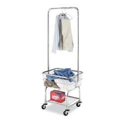 Whitmor - Laundry Butler - Sometimes you need an extra set of hands  or maybe a butler. Now you have one! With a sturdy chromed metal frame  heavy duty wheels  two with locks  this stalwart fellow can follow you anywhere. The large chromed basket is perfect for holding laundry  and is positioned at a comfortable height that requires less bending for you! Hang wet or dry garments on the sturdy valet bar; store your laundry supplies or folded laundry on the convenient bottom shelf. This Laundry Butler is a wonderful helpmate to those who have trouble maneuvering traditional laundry baskets and hampers or for anyone needing just one more hand. In the bedroom  laundry room  or anywhere  this Butler is always on duty.  This item cannot be shipped to APO/FPO addresses. Please accept our apologies.