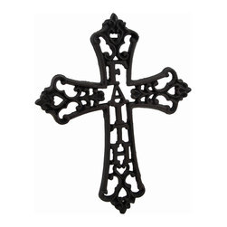 Zeckos - Cast Iron Faith Decorative Wall Mounted Cross - The message of 'Faith' is incorporated into this wonderful wall mounted cross to accent any room or door in your home. This blackened finish cast iron 9.5 inch high, 7.5 inch wide (24 x 19 cm) cross features an intricate scrolling design, and includes an attached hanger on the back making mounting to any surface easy. It's suitable for indoor or outdoor use, and makes a beautiful housewarming gift sure to be appreciated