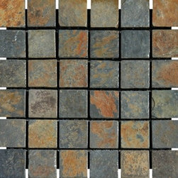 "China Multi Color Tumbled Mesh-Mounted Slate Mosaic Tiles 2"" x 2"" - 2"" x 2"" China Multi Color Mesh-Mounted Slate Mosaic Tile is a great way to enhance your decor with a traditional aesthetic touch. This Tumbled Mosaic Tile is constructed from durable, impervious Slate material, comes in a smooth, unglazed finish and is suitable for installation on floors, walls and countertops in commercial and residential spaces such as bathrooms and kitchens."