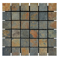 """China Multi Color Tumbled Mesh-Mounted Slate Mosaic Tiles 2"""" x 2"""" - 2"""" x 2"""" China Multi Color Mesh-Mounted Slate Mosaic Tile is a great way to enhance your decor with a traditional aesthetic touch. This Tumbled Mosaic Tile is constructed from durable, impervious Slate material, comes in a smooth, unglazed finish and is suitable for installation on floors, walls and countertops in commercial and residential spaces such as bathrooms and kitchens."""