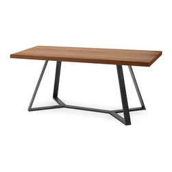 Archie - 240 Dining Table - Archie-240 features a lacquered metal frame and a ashwood, oak or walnut canaletto veneered top.