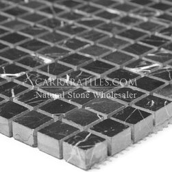 Nero Marquina Black Marble 5/8x5/8 Mosaic Tile Polished - Nero Marquina Marble 5/8x5/8 Mosaic Tile also known as Black Marquina Marble 5/8x5/8 Mosaic Marble. Premium grade Marble 5/8x5/8 mosaic tile is perfect for both residential and commercial projects. Marble 5/8x5/8 Mosaic Tiles are mainly preffered as floor tiles for their clean, aesthetic qualities. A large selection of coordinating products are available and includes Nero Marquina basketweave mosaics, Nero Marquina herringbone mosaics, Nero Marquina hexagon mosaics, 3x6 marble subway tiles, 12x12 Nero Marquina marble tiles, 4x4 Nero Marquina marble tiles, Nero Marquina borders, Nero Marquina moldings and Nero Marquina baseboards, each available in polished finish
