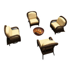 Forever Patio - Leona 4 Piece Traditional Patio Chat Set, Canvas Wheat Cushions - Create an elegant outdoor seating area with the Forever Patio Leona 4 Piece Wicker Outdoor Chat Set with Gold Sunbrella cushions (SKU FP-LEO-4CH-MC-CW), which is perfect for placement around a table or fire pit. The set seats 4 adults comfortably, and features Mocha resin wicker with a full round design that creates a complex and luxurious look. Each strand of this outdoor wicker is made from High-Density Polyethylene (HDPE) and is infused with the rich color and UV-inhibitors that prevent cracking, chipping and fading ordinarily caused by sunlight, surpassing the quality of natural rattan. The set is supported by thick-gauged, powder-coated aluminum frames that make it extremely durable and resistant to corrosion. Also included are cushions covered in fade- and mildew-resistant Sunbrella fabric. You and your guests will love the deep design of this patio chat set, and the additional comfort of the overstuffed, plush cushions that make outdoor lounging a delight.