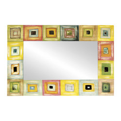 Modern Blocks Rectangular Wall Mirror