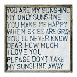 You Are My Sunshine Large Square Reclaimed Wood Wall Art