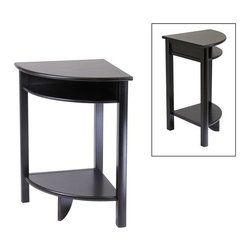 Winsome Trading, INC. - Winsome Wood 92720 Liso Corner End Table - Solid/composite wood corner desk with Espresso finish from our coordinated Liso line of home office furniture is 20-1/2 by 20-1/2 by 31.1H. The desk has 2 open shelves for storage matches in height with the printer stand and file cabinet. It comes ready to assemble with hardware and tools.