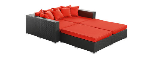 LexMod - Palisades Outdoor Wicker Patio Daybed 4-Piece Set in Espresso with Red Cushions - Rejoice in the splendor of a completely formed outdoor bedding environment. View from afar as you silently take in the sights and sounds around you for proper effect. Make your initial movements toward transformation with this splendid flowing piece of absolution and resolve.