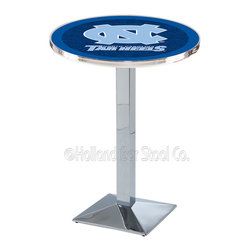 Holland Bar Stool - Holland Bar Stool L217 - Chrome North Carolina Pub Table - L217 - Chrome North Carolina Pub Table belongs to College Collection by Holland Bar Stool Made for the ultimate sports fan, impress your buddies with this knockout from Holland Bar Stool. This L217 North Carolina table with square base provides a commercial quality piece to for your Man Cave. You can't find a higher quality logo table on the market. The plating grade steel used to build the frame ensures it will withstand the abuse of the rowdiest of friends for years to come. The structure is triple chrome plated to ensure a rich, sleek, long lasting finish. If you're finishing your bar or game room, do it right with a table from Holland Bar Stool. Pub Table (1)