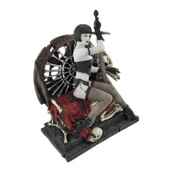 Gothic Lady Warrior with Sword on Skull and Bone Throne Statue - This Gothic warrior woman sits atop her throne of bones, caressing the skull of her deceased pet dragon, straight from battle. Made of cold cast resin, this statue measures 7 1/2 inches tall, 5 1/2 inches long, 3 3/4 inches wide and has a matte, porcelain-like finish. The bottom of the base is lined with felt to prevent it from scratching delicate surfaces, so you can display it anywhere in your home or office. It is amazingly detailed, from the glossy patent leather look of her corset, skirt, gloves, and boots to the hand painted metallic accents and bones. This piece makes a great gift for collectors of dark fantasy art, and is sure to be admired.