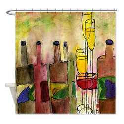 usa - Tuscany Shower Curtain - Beautiful shower curtains created from my original art work. Each curtain is made of a thick water resistant polyester fabric. The permanently applied art work appears on the front side with the inside being white. 12 button holes for easy hanging, machine washable and most importantly made in the USA. Shower rod and rings not included. Size is a standard 70''x70''