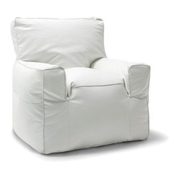 Comfort Research - Big Joe White Vegan Suite Lounger - Is it a bean bag or is it a framed chair? You won't know the difference until you sit on it. The Big Joe Suite Lounger has the look of your favorite chair, giving you the perfect seat for any room in your house. Made with soft, durable microsuede or faux leather. Filled with UltimaX Beans that conform to you.  Double stitched and double zippers for added strength and safety. Spot clean. Please note this item requires an additional shipping timeline of 10-14 days.