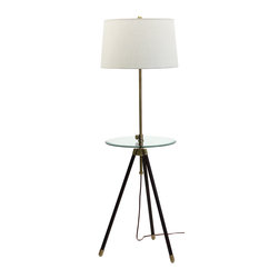 House of Troy - House of Troy Adjustable tripod Floor Lamp Satin Nickel with Table - House of Troy Adjustable Tripod Floor Lamp Satin Nickel with Table
