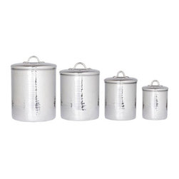 Old Dutch 4 pc. Stainless Steel Hammered Canister Set with Fresh Seal Covers - Storage and beauty come together with the Old Dutch 4 pc. Stainless Steel Hammered Canister Set with Fresh Seal Covers. The beauty of the hammered stainless steel design is sure to become a focal point of your kitchen. Keep everything organized in a lovely way with this canister set.About Old Dutch InternationalFamous for their copperware, Old Dutch International, Ltd. has been supplying the best in imported housewares and giftware to fine retailers throughout America since 1950. They offer a large assortment of housewares, including bakers racks, trivets, and pot racks in materials like chrome, colorful enamel, and stainless steel. Other product lines include wine racks, serving trays, specialty cookware, clocks, and other home accessories. Old Dutch warehouses and distributes their products from a 30,000 square foot facility in Saddle Brook, N.J.