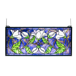 Meyda Tiffany - Meyda Tiffany Magnolia Window X-50703 - The vivid shades of green and purple stand out on this eye-catching Meyda Tiffany window. From the Magnolia Collection, this design depicts multiple magnolia flowers in soft shades of lavender, highlighted by trim in coordinating hues that pull the look together.