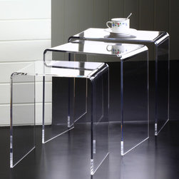 None - Clear Acrylic Nesting Tables (Set of 3) - This Clear Acrylic coffee table features a waterfall edge design that is a beautiful addition to any home or office.
