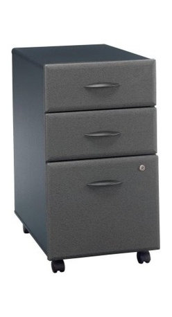 Bush Series A Three Drawer Filing Cabinet - Slate - Smooth style is the hallmark of the Bush - Series A 3-Drawer Filing Cabinet - Slate. Let your eyes take in the beveled edges of this cabinet. Two shallow drawers above hold necessary office items, and the deep drawer below keeps letter- or legal-sized documents organized. A lock keeps the lower two drawers secure. Hidden casters make this easily mobile, even when full. A combination of function, simplicity, and looks, this filing cabinet is a must-have for any office. You will have the opportunity to purchase matching furniture accessories once you have placed the cabinet in your shopping cart. Additional FeaturesAttractive, contemporary storage for your home or officeBottom file drawer holds letter and legal filesPrivacy lock secures bottom file drawerCasters allow easy mobility About Bush FurnitureBush Furniture is the eighth-largest furniture company in the United States. Bush manufactures high-quality products, which are designed to be easily assembled and provide great value for the price. Bush furniture is made from a combination of particleboard, fiberboard, and solid wood components. The use of real wood components will be noted in the product description, if applicable.Bush Industries has more than 4 million square feet of manufacturing, warehousing, and distribution space. This allows for a very wide selection of high-quality furniture with the ability to ship quickly. All Bush Furniture is also backed by a 10-year warranty from Bush, one of the best in the industry.Please note this product does not ship to Pennsylvania.