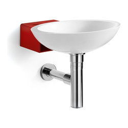 Modo Bath - Ciuci 6622 Wall mount Bathroom Sink, White/Red - Ciuci 6622 Wall mount Bathroom Sink