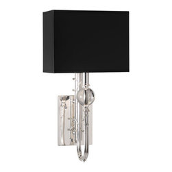 Robert Abbey - Robert Abbey Mary McDonald Ondine Large Wall Sconce 2519B - Rectangular Black Painted Opaque Parchment Shade with Silver Tortoise Lining
