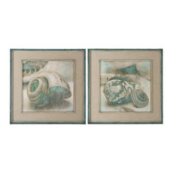 Uttermost - Uttermost 51084 Coastal Gems Framed Art Set of 2 - These oil reproductions feature a hand applied brushstroke finish. Outer section of frames have lightly distressed, muted aqua undertones with heavy charcoal wash. Inner lips have an off-white undertone with heavy taupe wash. Mats are gray, oatmeal linen.
