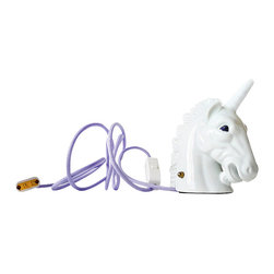 EarthSeaWarrior - Odysseus Unicorn Head Night Light - Escape to the realm of fantasy with this porcelain unicorn night light. The glittering horn and eyes add to the mystical beauty of this mythical creature. A whimsical addition for your child's bedroom or that of your own inner child.