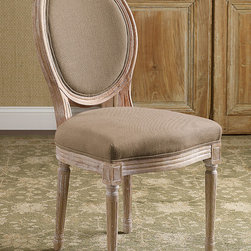 Oval Back Bergere Side Chair - With more than a nod to elegant Louis XVI design, our oval bergère takes a less formal stance with richly textured upholstery and a substantial hand-carved, vintage-washed oak frame. Endlessly useful, these chairs look equally chic at a writing desk or vanity, in multiples around a dining table or anywhere else you need some occasional.