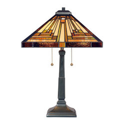 Quoizel Lighting - Quoizel TF885T Stephen 2 Light Table Lamp, Vintage Bronze - Long Description: This handcrafted Tiffany style lamp illuminates your home with warm shades of amber, bisque and earthy green, arranged in a clean and simple geometric pattern reminiscent of the works of Frank Lloyd Wright. The sturdy base complements the Arts & Crafts style, and is finished in a vintage bronze patina.