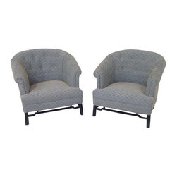 Used Baker Mid-Century Lounge Chairs - A Pair - A pair of Baker Mid-Century lounge chairs in style of Michael Taylor for Baker. The chairs have been professionally upholstered. They feature walnut bases with a matte black finish.